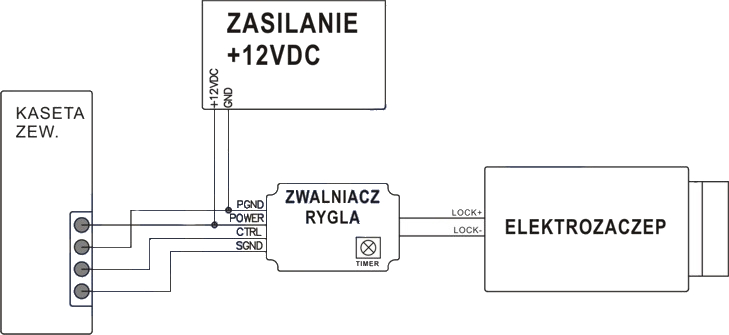 Domofon bezprzewodowy ORNO CL-3624 - schemat podłączenia