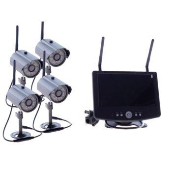 "Zestaw monitoringu - 4 x kamera zewnętrzna HD i odbiornik z LCD 7"" - SET4ch_LAN1"