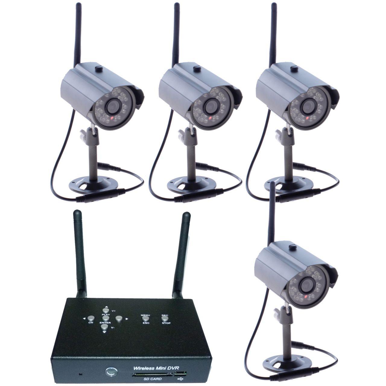 Zestaw monitoringu - 4 x kamera zewnętrzna HD i odbiornik - SET4ch_LAN2
