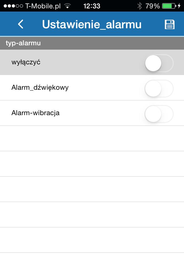 Alarmy w aplikacji ORLLO G-SPY