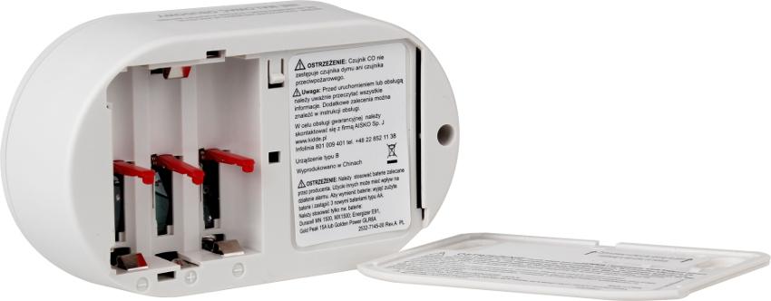 Czujnik tlenku węgla KIDDE z wyświetlaczem LCD ostrzeżenia