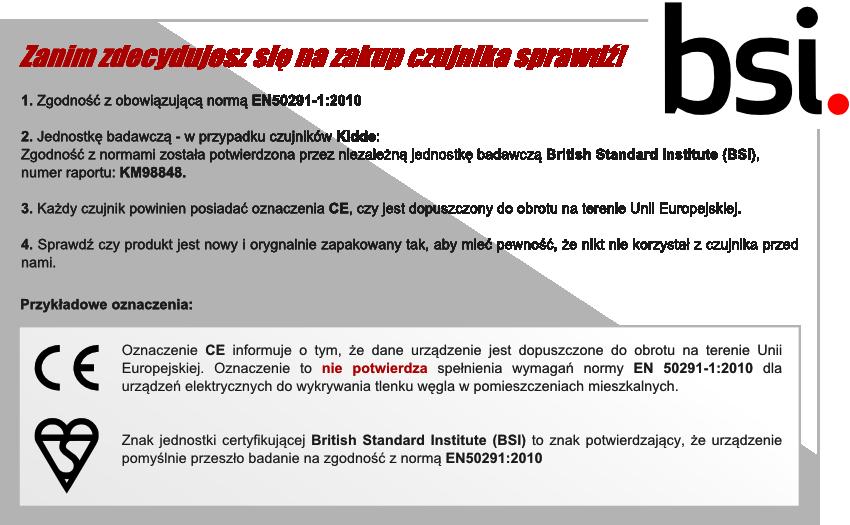 Czujnik tlenku węgla KIDDE z wyświetlaczem LCD certyfikaty