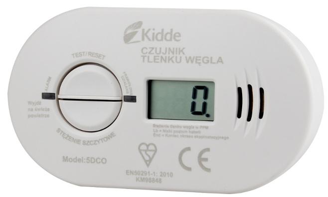 Czujnik tlenku węgla KIDDE front z wyświetlaczem LCD