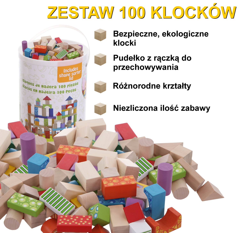 Bezpieczne ekologiczne klocki drewniane w pudelku ECOTOYS 2007