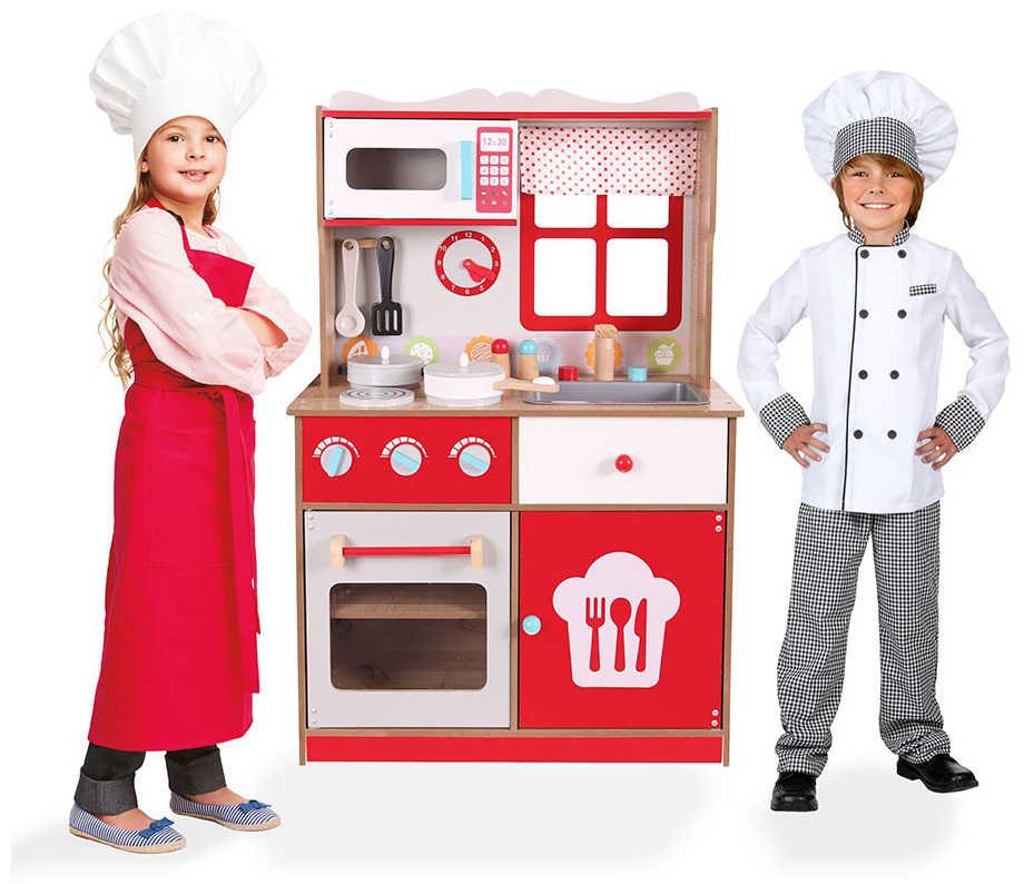 Czerwona kuchnia drewniana z dziećmi ECOTOYS 4253
