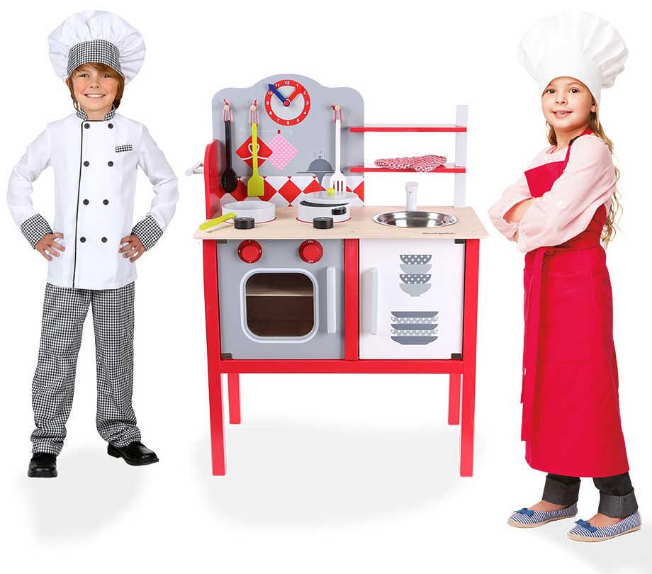 Drewniana kuchnia ECOTOYS czerwona z dziećmi ZA-4201