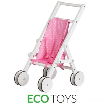 Drewniany wózek dla lalek pchacz chodzik ECOTOYS WDF010