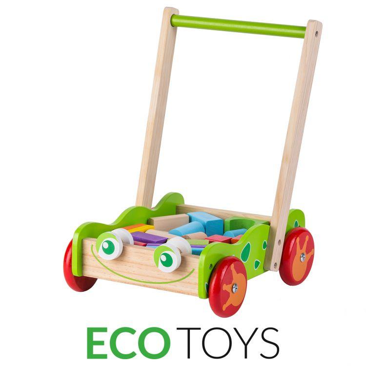 Drewniany wózek / pchacz dla dzieci ECOTOYS
