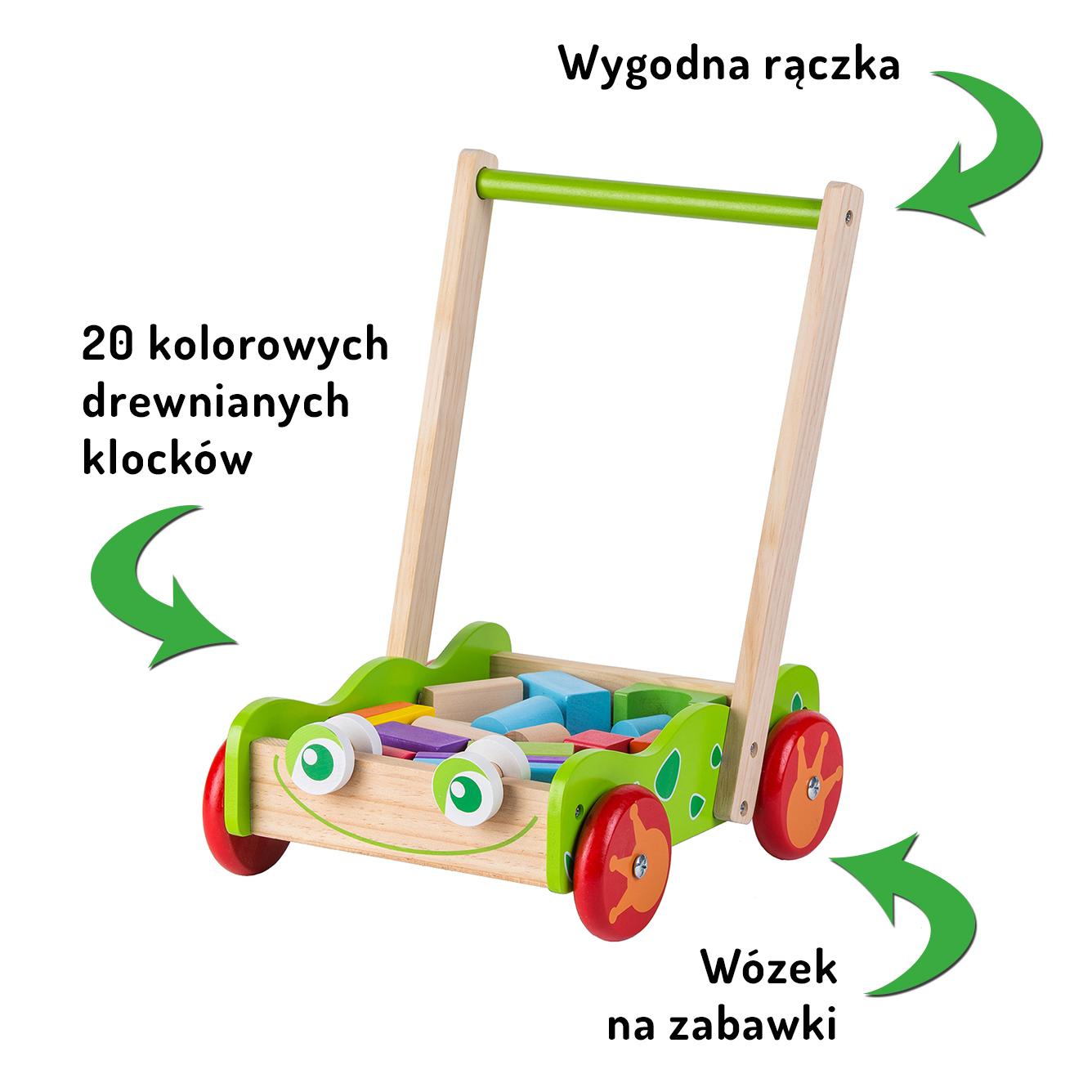 Drewniany wózek / pchacz z klockami ECOTOYS