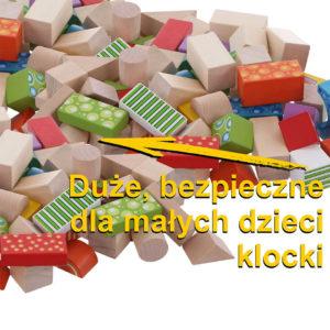 Duże bezpieczne dla dzieci klocki drewniane 50 sztuk ECOTOYS 2001