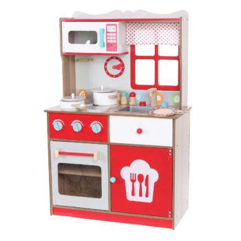 Ekologiczna drewniana czerwona kuchnia z wyposażeniem ECOTOYS 4253
