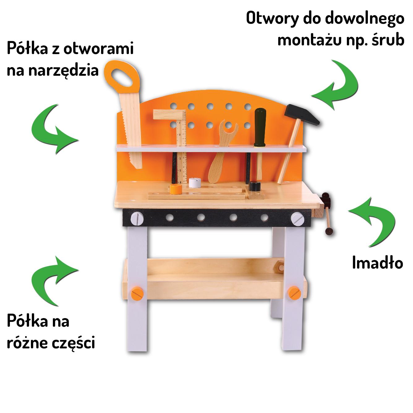 Elementy składowe drewnianego warsztatu 32 elementy ECOTOYS 1176