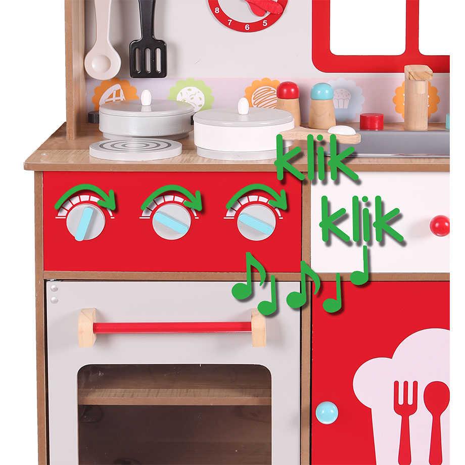 klik klik w drewnianej czerwonej kuchni ekologicznej ECOTOYS 4253