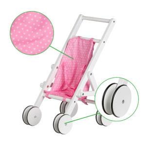 Kółka antypoślizgowe i różowy materiał wózek z ECOTOYS WDF010