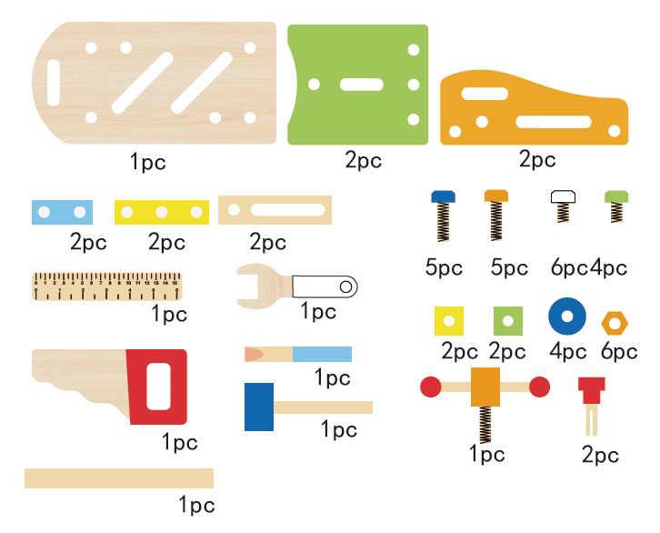 Multifunkcyjny zestaw narzędzi wykaz części ECOTOYS 1182