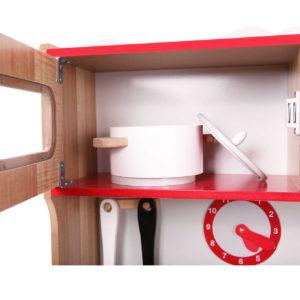 Naczynia w szafce ekologicznej drewnianej kuchni ECOTOYS 4253