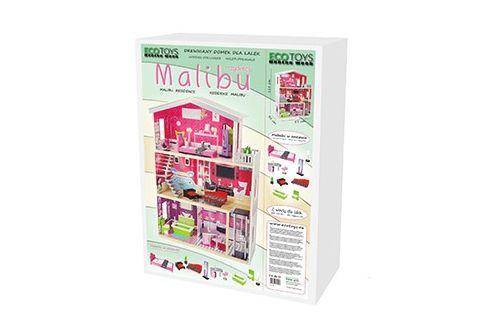 Opakowanie drewnianej rezydencji dla lalek Malibu ECOTOYS 4118