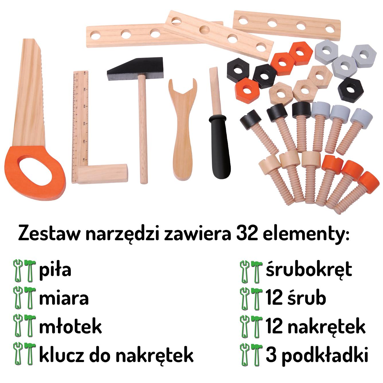 Opis narzędzi drewnianego warsztatu 32 elementy ECOTOYS 1176