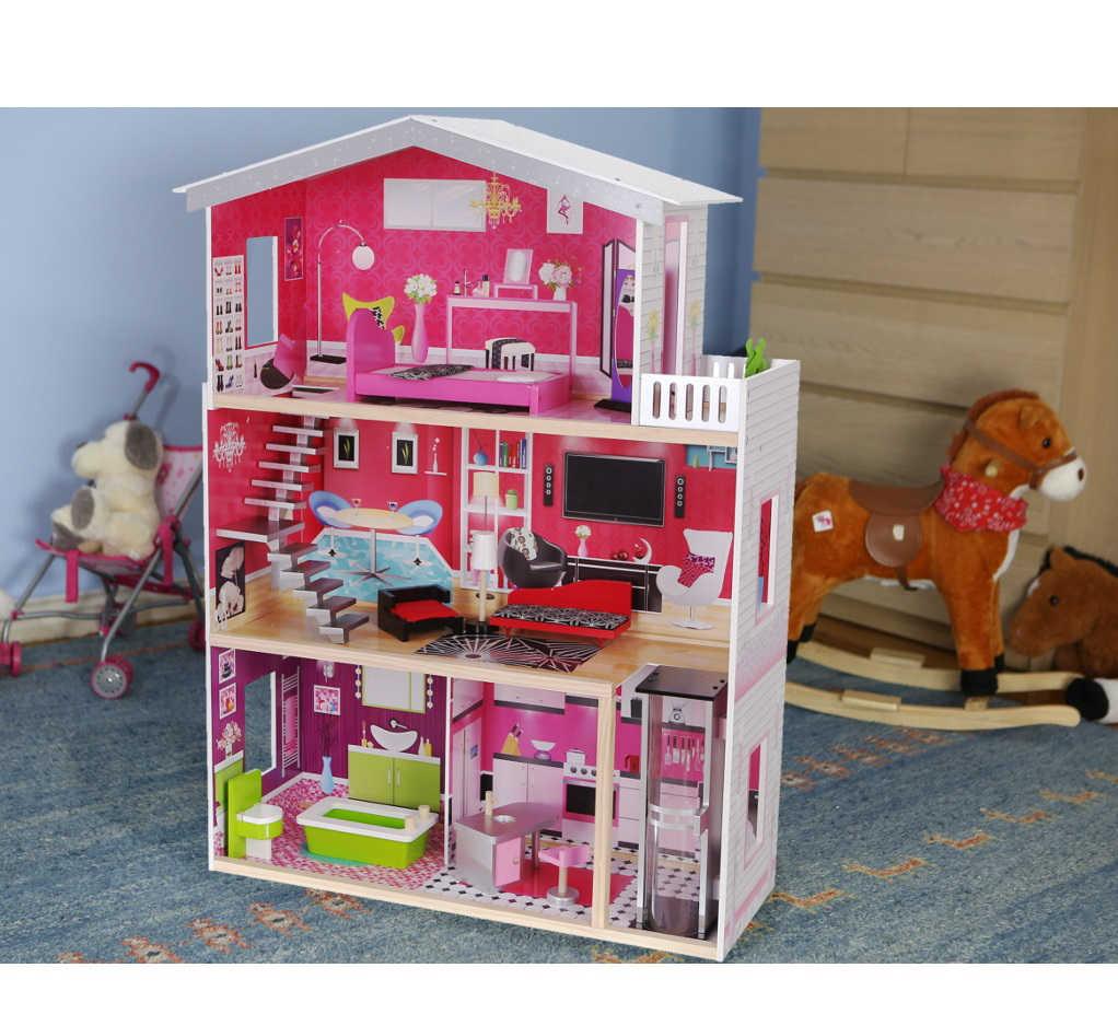Rezydencja drewniana Malibu z windą i z innymi zabawkami ECOTOYS  4118