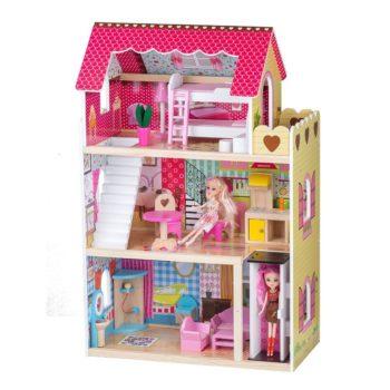 Rezydencja malinowa drewniany domek z windą i dwie lalki ECOTOYS 4120