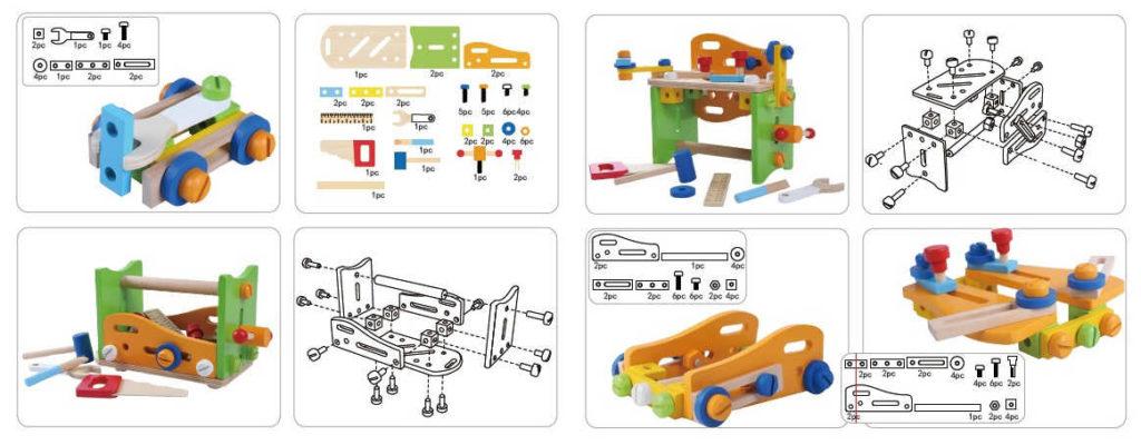 Rysunki konstrukcyjne multifunkcyjnego zestawu narzędziowego ECOTOYS 1182
