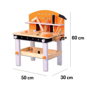 Wymiary drewnianego warsztatu 32 elementy ECOTOYS 1176