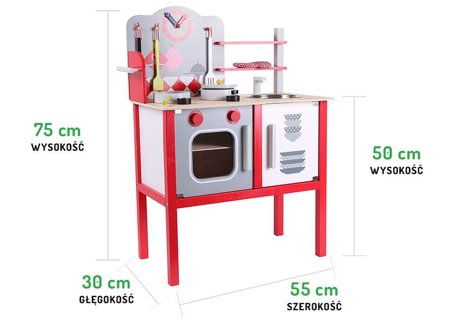 Wymiary drewnianej czerwonej kuchni ECOTOYS ZA-4201