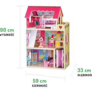 Wymiary drewnianej malinowej rezydencji z winda i lalkami ECOTOYS 4120