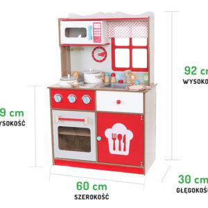 Wymiary kuchni drewnianej czerwonej ECOTOYS 4253
