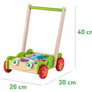 Wymiary wózka / pchacza z klockami ECOTOYS