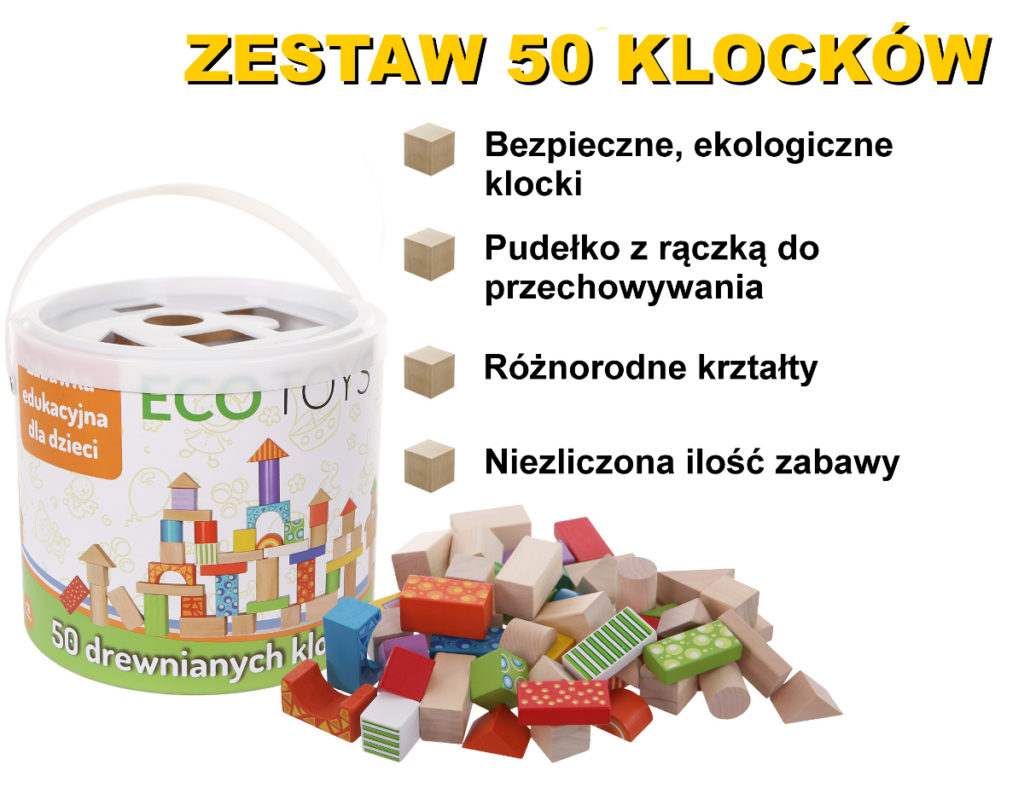 Zestaw 50 klocków drewnianych ECOTOYS 2001