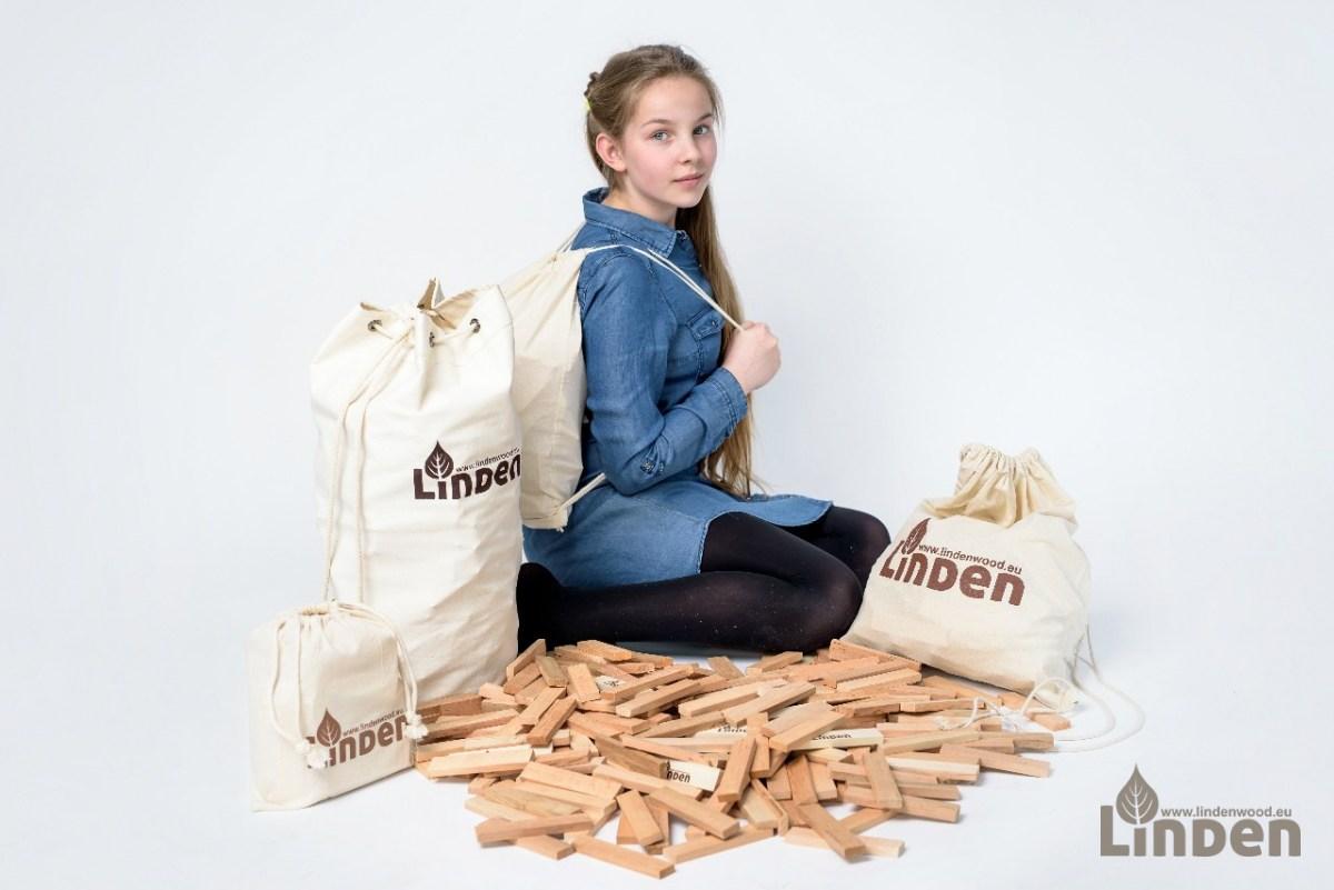Zestaw drewnianych klocków Linden w worku typu plecak 300 sztuk