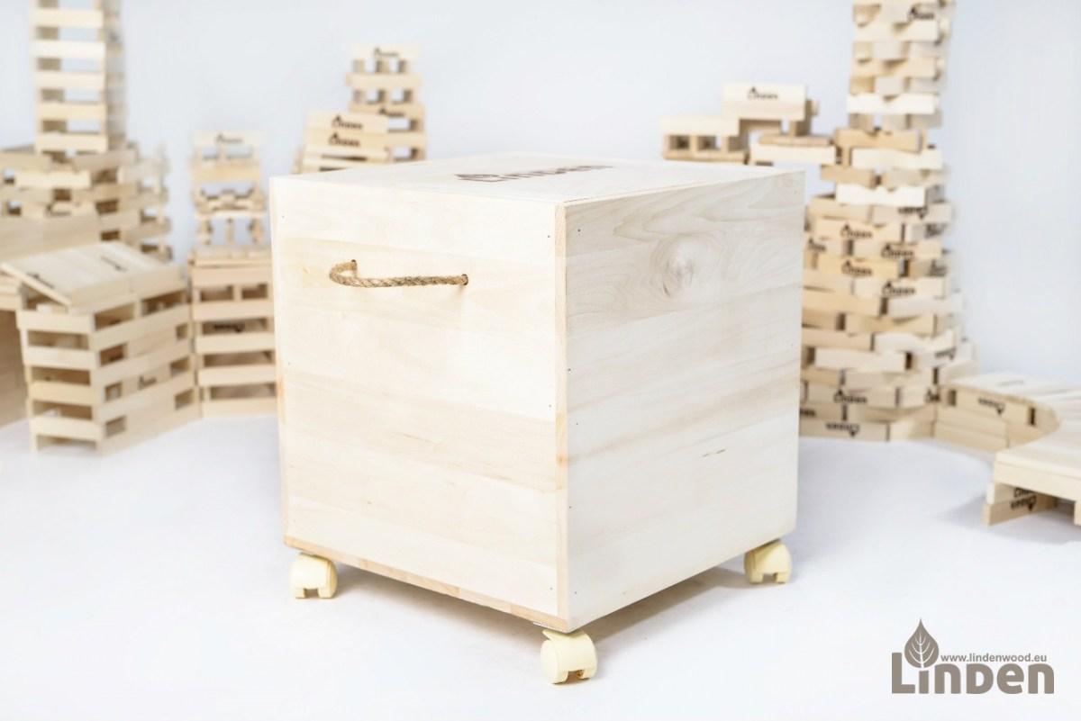 Zestaw 1000 sztuk drewnianych klocków Linden z drewnianą skrzynią