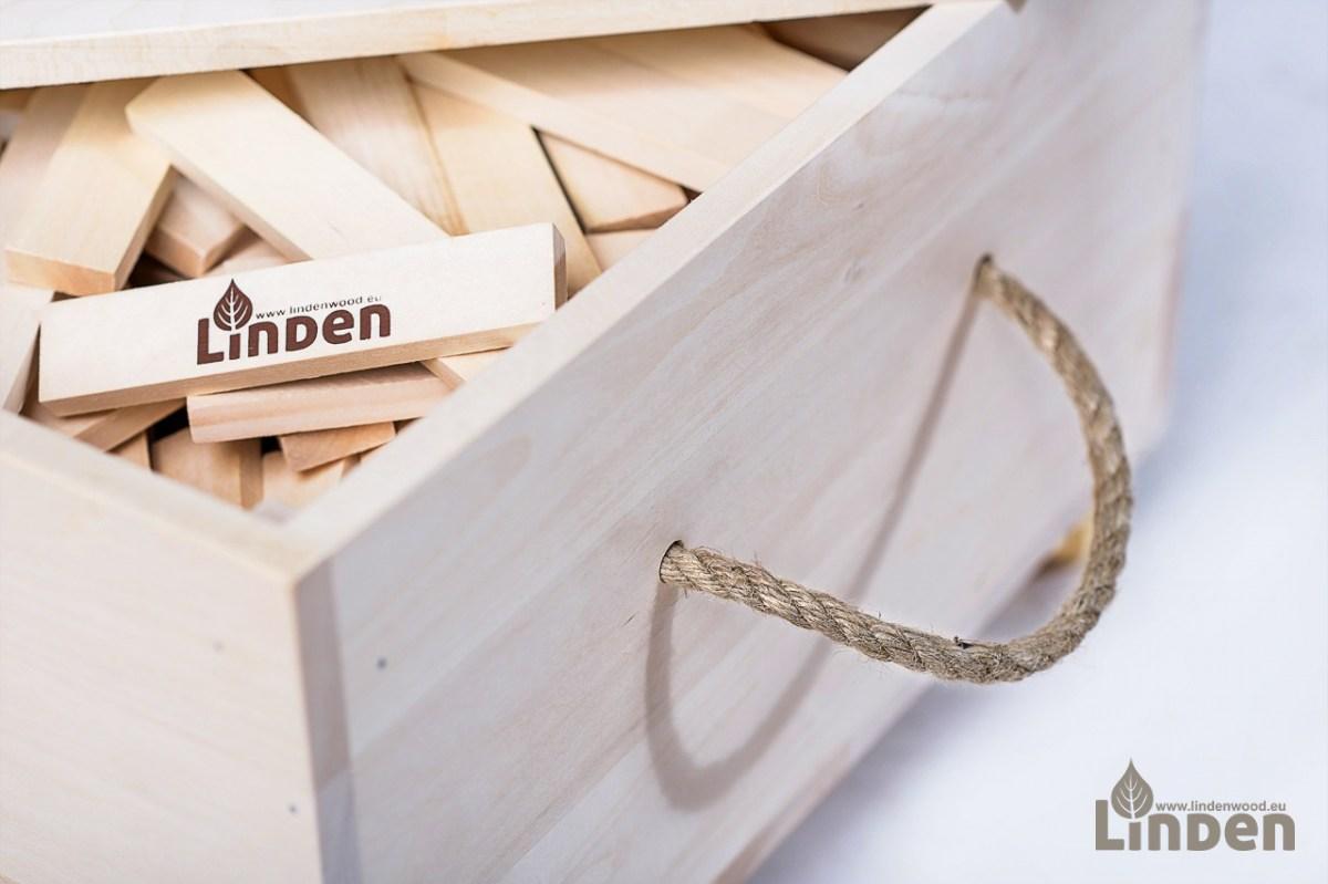 Klocki drewniane Linden w drewnianej skrzyni 500 sztuk