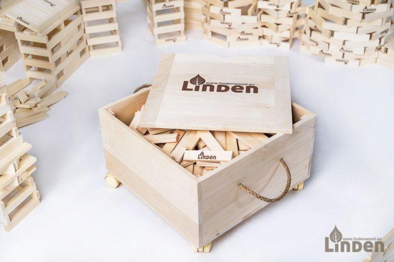 zestaw drewniana skrzynia Linden wraz z 500 sztuk konstrukcyjnych klocków Linden