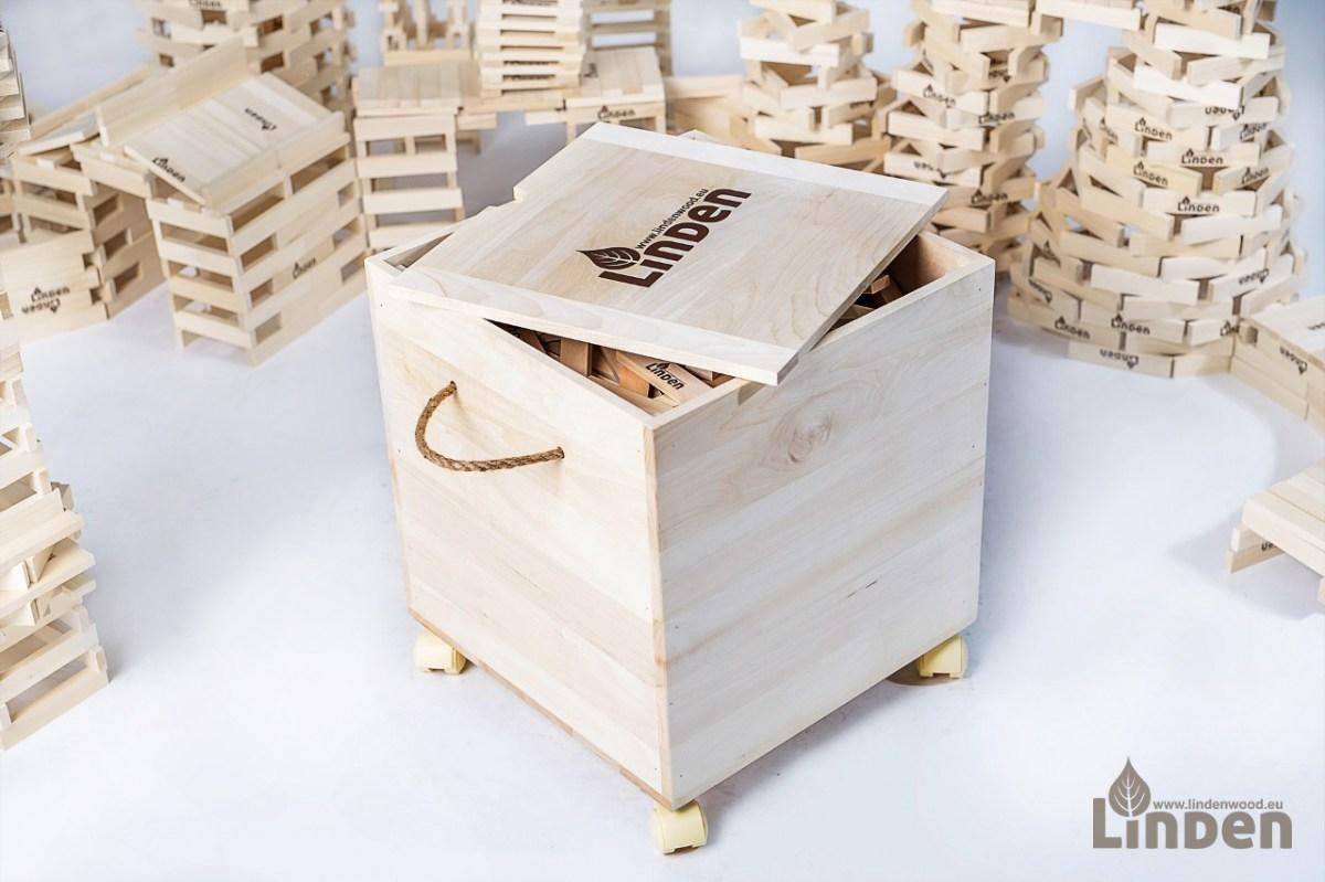 Zestaw 1000 drewnianych klocków konstrukcujnych i drewnianej skrzyni Linden