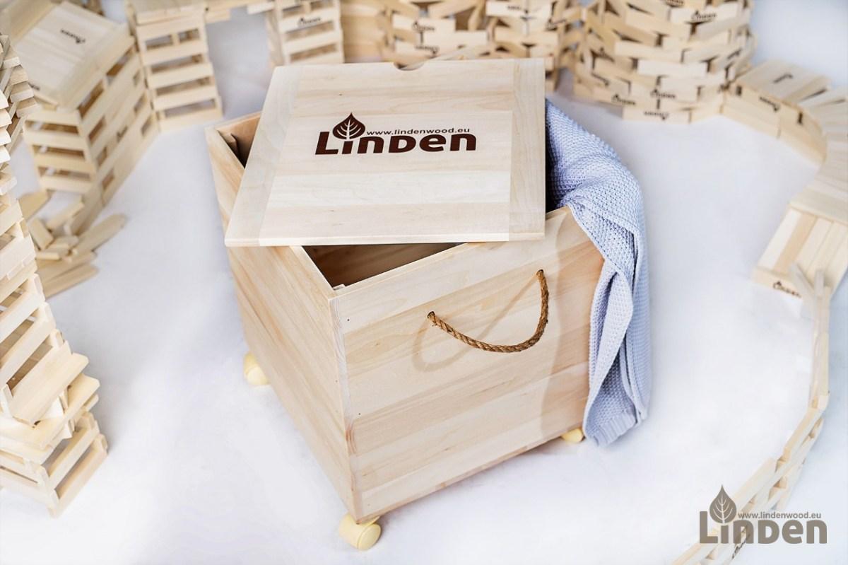 Zestaw drewniana skrzynia plus 1000 sztuk drewnianych klocków Linden
