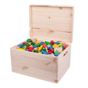 Drewniane klocki magnetyczne Kooglo Giga w drewnianej skrzyni kolorowe
