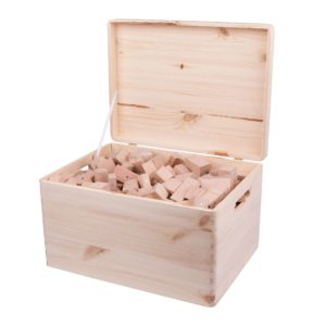 Drewniane klocki magnetyczne Kooglo Giga w drewnianej skrzyni kolor naturalny