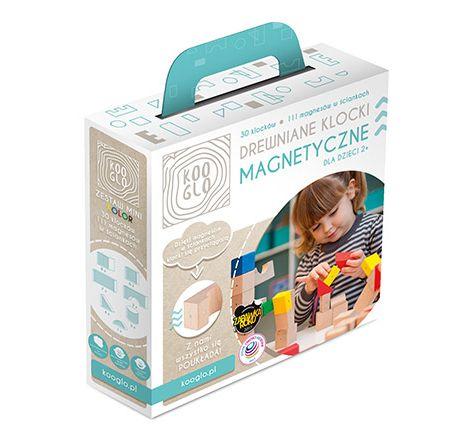 Drewniane klocki magnetyczne Kooglo - zestaw mini kolor - K4030C