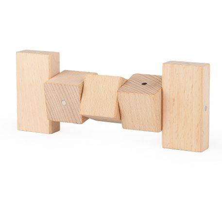 Drewniane, magnetyczne konstrukcje z klocków Kooglo Basic Natural