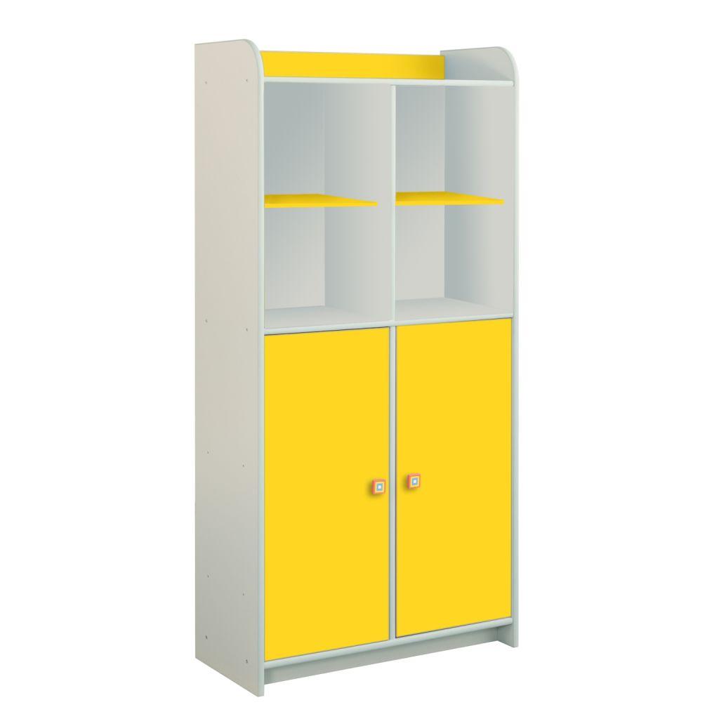 Żółty regał z 2 drzwiczkami Dioralino R5S03-Y