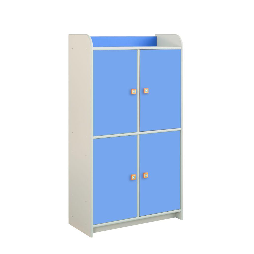 Regał niebieski z 4 drzwiczkami Dioralino R4S22-B