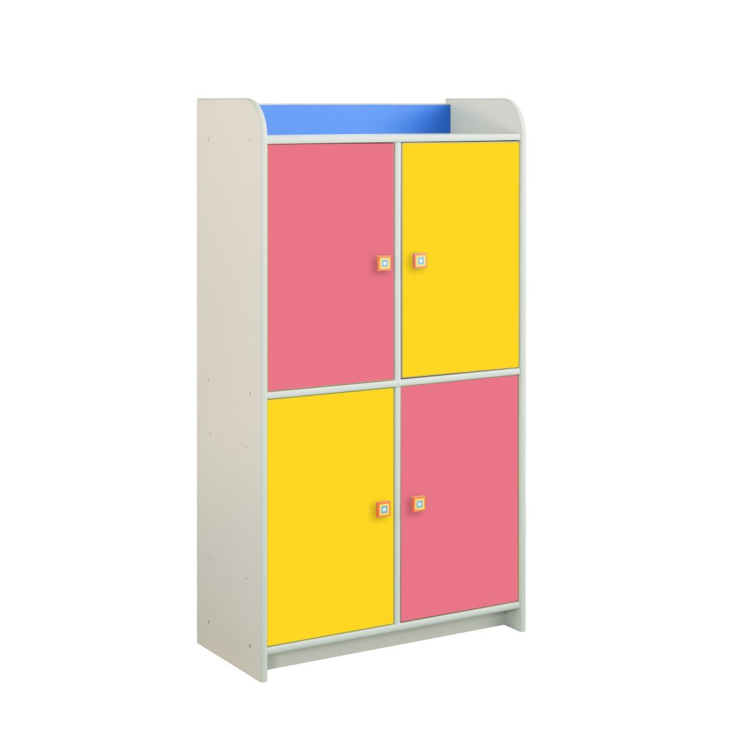 Regał różowo-żółty z 4 drzwiczkami Dioralino R4S22-C2