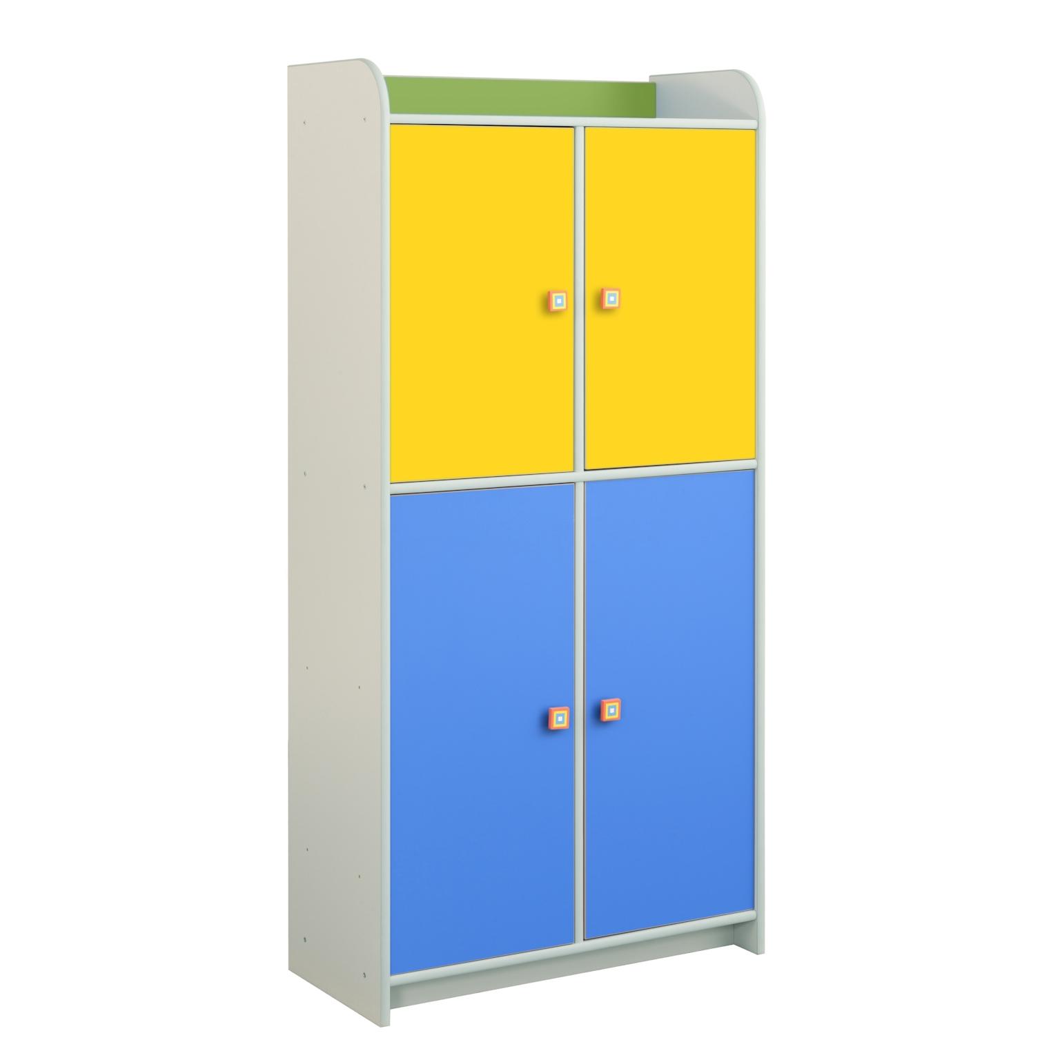 Regał Dioralino z 4 drzwiczkami R5S23 C2 - żółto-niebiesko-zielony