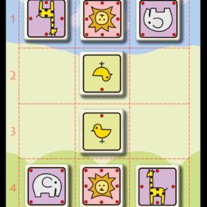 Gra edukacyjna Złapmy Lwa - plansza z klockami