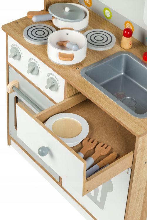 elementy zestawu małego kucharza - drewniana kuchenka