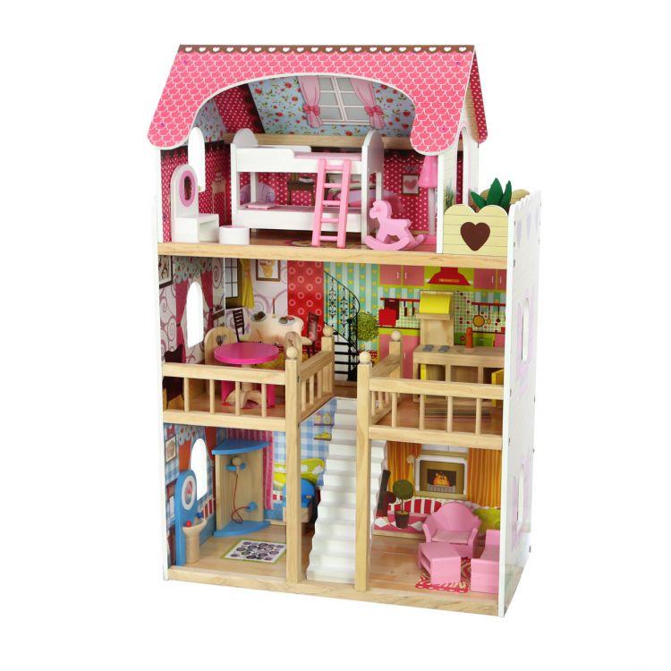 Drewniany domek dla lalek - rezydencja Malinowa