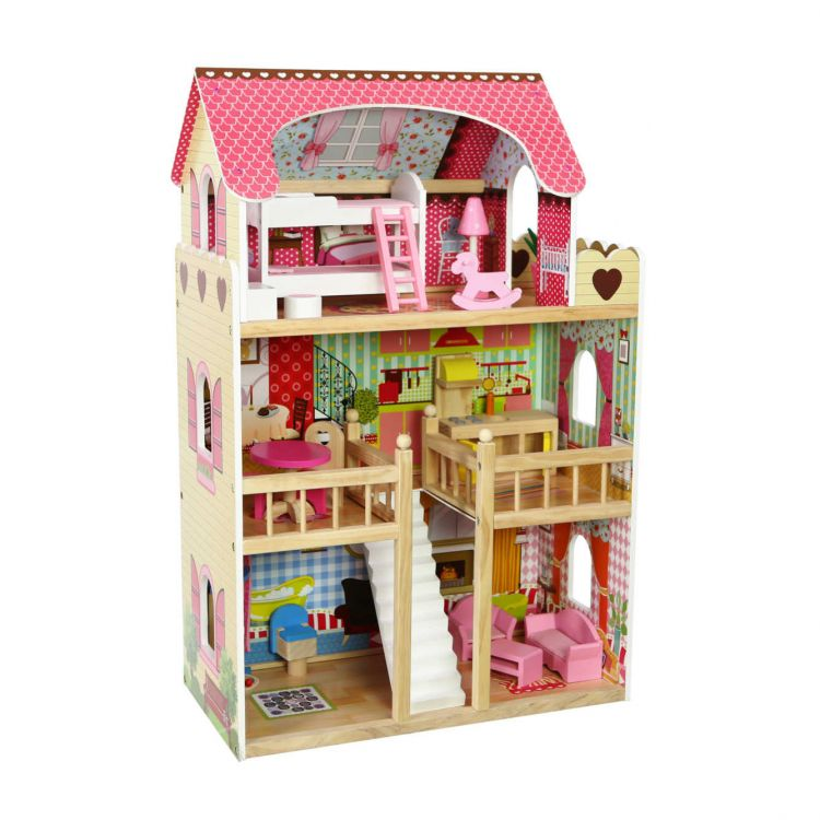Rezydencja malinowa drewniany domek dla lalek