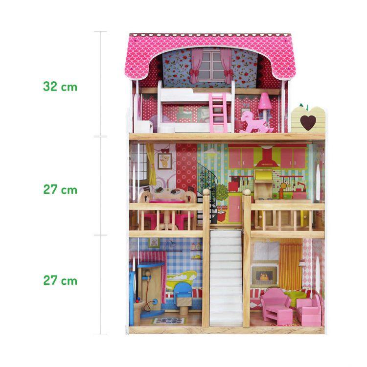 Wymiary drewnianego domku dla lalek Ecotoys Malinowa